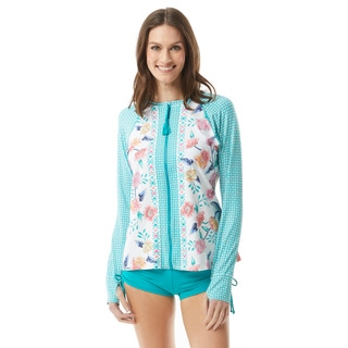 Beach House Mary Relaxed Fit Zip Front Rash Guard - Floral Fantasy