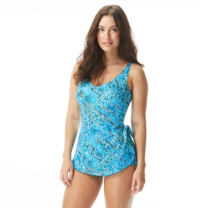 Roxanne Bra Sized V-Neck Sarong One Piece Swimsuit - Mystic Beach