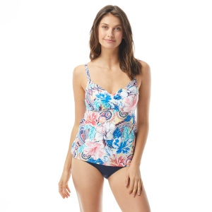 Beach House Lucy Underwire Twist Front Tankini Top - Bohemian Bloom