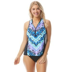 Beach House Sport Racer Zip Front Tankini Top - Tie Dye For