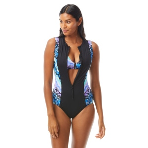 Beach House Sport Thrive Sleeveless Zip Front One Piece Swimsuit - Tie Dye For