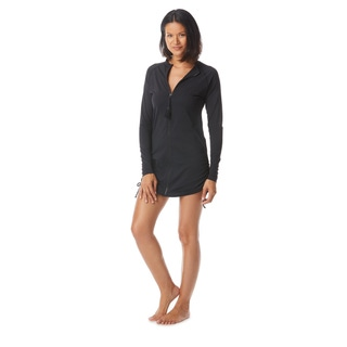 Beach House Sport Interval Long Sleeve Side Tie Zip Front Cover Up - Beach Solids