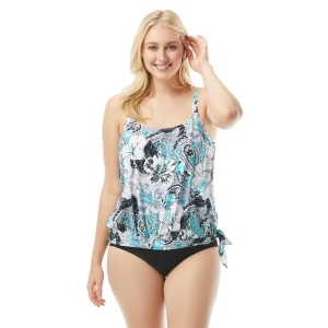 Beach House Plus Size Sarah Side Tie Blouson Tankini Top - Bohemian Bloom