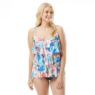 Beach House Plus Size Jane Ruffle Tankini Top - Bohemian Bloom